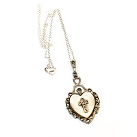 Theda mother of pearl heart and marcasite cross sterling silver pendant necklace 925