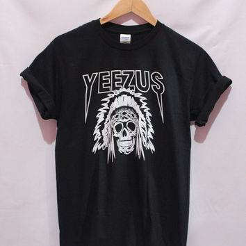 yeezus shirt kanyewest t shirt Indian Skull man and women shirt unisex size S,M,L,XL,XXL Pic of the actually shirt
