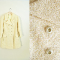 Oh Mister Sun - Vintage 60s Wool Knit Double Breasted Pale Yellow Coat Jacket
