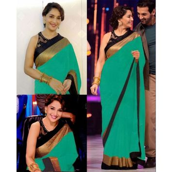 Madhuri Dixit Georgette Border Work Plain Green Bollywood Style Saree - 18