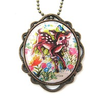 Pretty Bambi Deer In a Field of Flowers Illustrated Pendant Necklace   Animal Jewelry