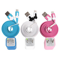 Total 6pcs/lot! USB Cable Cord(1M) & USB Power Charger For Iphone 5