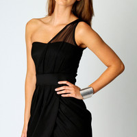 Polly Mesh One Shoulder Wrap Front Bodycon Dress