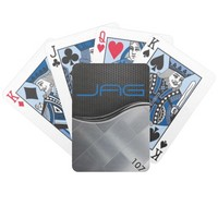 Black Carbon Silver Tiles Playing Cards