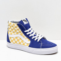 Vans Sk8-Hi BMX Checkerboard Blue & Yellow Skate Shoes | Zumiez