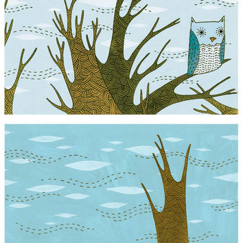 Sale: Owl Tree Art Print Set
