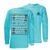 Southern Couture Preppy Follow Your Arrow Comfort Colors Lagoon Blue Girlie Long Sleeve Bright T Shirt