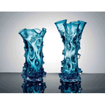 Ocean Blue water waves Glass Vase Set