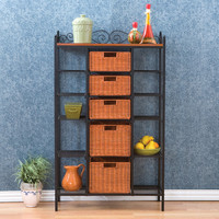 6-Shelf Kitchen Storage Baker's Rack with 5 Rattan Baskets