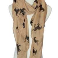 Brown Trendy Fashion Animal Horse Fashion Print Gift Women Winter Scarf