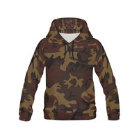 Camo Dark Brown All Over Print Hoodie for Men (USA Size) (Model H13) | ID: D2068778
