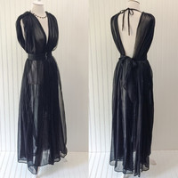 Belle robe // 1960s ULTRA sheer black chiffon draped full sweep PLUNGING bust peignor // rhinestone belt open back // OSFM