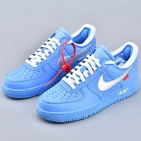 Trendsetter Nike Air Force 1 x OW  Women Men Fashion Casual Old Skool Shoes