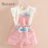 summer baby girls clothing set children bow heart shirt+shorts suit 2 pcs kids plaid bow clothes set suit