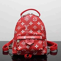 Louis Vuitton Women Leather Bookbag Shoulder Bag Handbag Backpack