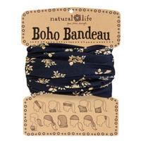 Natural Life Boho Bandeau with Black and Cream Floral
