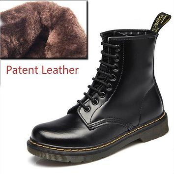 Women Ankle Genuine Leather Lace Up Punk Riding Boots