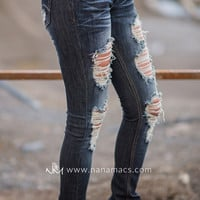 Rip My Heart Out Distressed Skinny Jeans (Dark Wash)