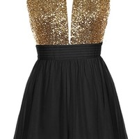Halter Bomb Dress | Black Gold Sequin Halter Neck Dresses | RicketyRack.com