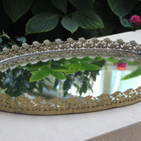 Large vintage gold mirrored oval vanity tray