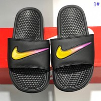 NIKE New fashion hook print slippers flip flop couple shoes 1#
