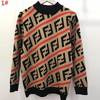FENDI Autumn Winter Popular Women Men FF Letter Jacquard Long Sleeve Knit Sweater Pullover Top 1#