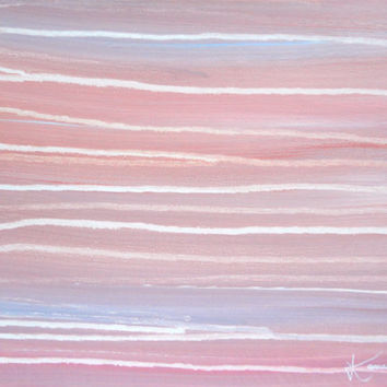 Pink Original Abstract Painting 11x14 Stretched Canvas Contemporary Art