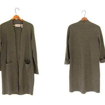 Army Green Thin Wool Cardigan Sweater Long Open Duster Minimalist Knit Drab Green Coat With Pockets Grunge Vintage Women's Small Medium
