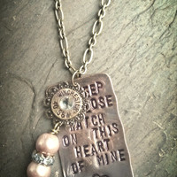 """Johnny Cash inspired 16 GA shotgun shell necklace.  """"I keep a close watch on this heart of mine"""""""