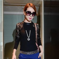 Fashion Women Crew Neck Hollow Out Long Sleeve Slim Knitwear Female Sexy Lace Party Club Wear Base Sweater Size M L XL S3