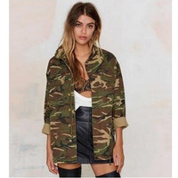Women's Ladies Clothing Tops Vintage Jackets Military Camo Classic Padded Bomber Camouflage Coat Outwear Jacket Clothes Women's