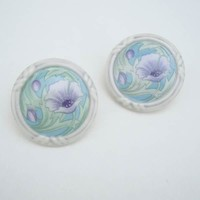 Ceramic Suffrage Earrings Green Violet White Floral Vintage Jewelry