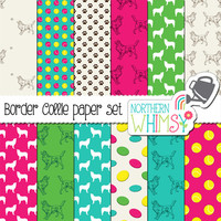 Border Collie Digital Paper Pack – hot pink, green & aqua border collie patterns – dog digital paper –  scrapbook paper – commercial use OK