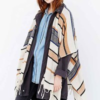 Natural Lightweight Stripe Open Poncho- Neutral Multi One