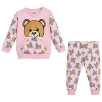 Moschino Baby Girls Pink Teddybear Logo Set
