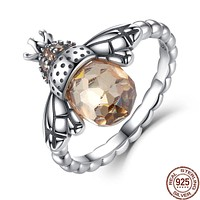 Authentic 925 Sterling Silver Orange Wing Animal Bee Finger Ring for Women