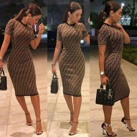 "Hot Sale ""FENDI"" Fashion Women Short Sleeve Round Collar Show Coffee Dress I/A"