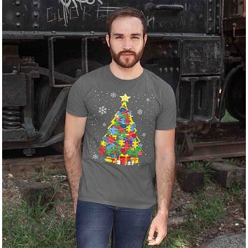 Men's Christmas Tree T Shirt Autism Christmas Shirts Puzzle Christmas Tree Shirt Tree Shirt Autistic Shirt