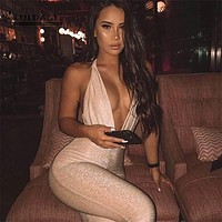 Fuedage Summer Women Jumpsuit Romper Bodycon Sparkle Glitter Hollow Out Deep V Neck Women Jumpsuit Solid Female Club Suits