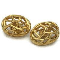 Crown Trifari Open Gold Tone Clip On Earrings Egg Shaped Oval Domes - Mid Century Vintage Signed Clip Ons