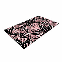 """Amy Reber """"Black And Pink Palms"""" Leaves Pattern Woven Area Rug"""
