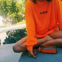 "Orange ""Pablo"" letters printed Long Sleeve Sweatshirt"