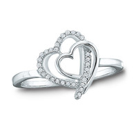 Diamond Accent Double Tilted Heart Ring in Sterling Silver - Size 7