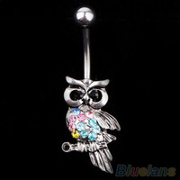 Owl Rhinestone Belly Button Ring