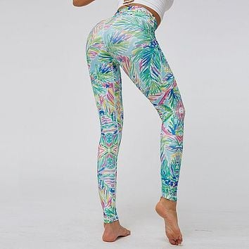 Women's plant-line tight-fitting high-waisted hip-lifting digital printed sports yoga pants