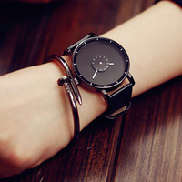 Unique Simple Style Leather Watch + Gift Box- 484