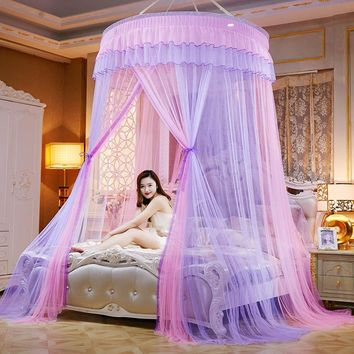 Round Lace Curtain Dome Princess Queen Canopy Mosquito Nets High Density Princess Bed Nets E2S