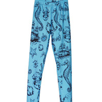 Blue Marine Print Leggings