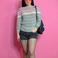 vtg 80s Nordic Sweater 1980s pink + gray knit sweatshirt top cute pastel small