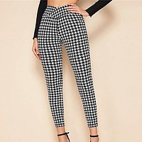 Black And White Wrap Wide Waistband Elegant Pants Women Spring Office Ladies Elastic Waist Skinny Cropped Trousers